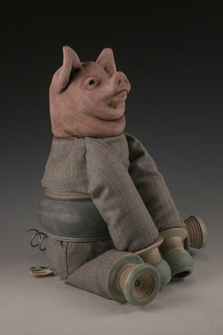 dolls, ceramic sculpture mixed media pig cyborg