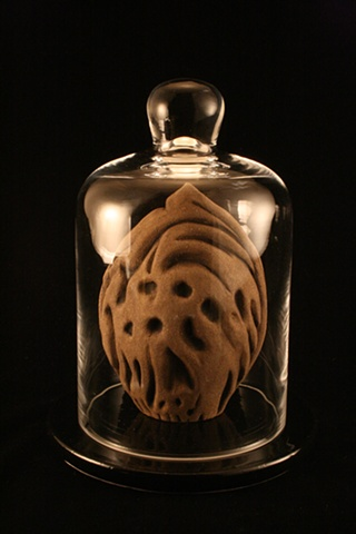 peach pit, ceramic, sculpture, bell jar