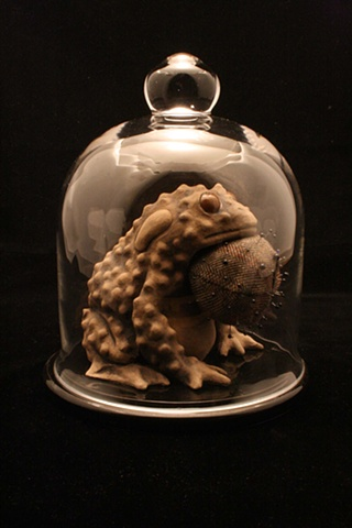 toad, bell jar, pin cushion, ceramic