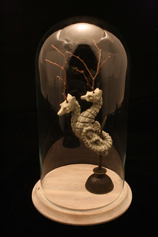 sea horses, bell jar, ceramic