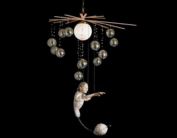 Marionette ceramic sculpture mixed media disco balls