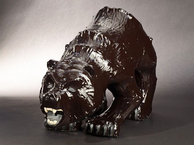 bear ceramic sculpture black