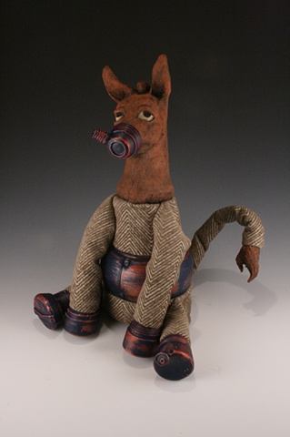 Ceramic, sculpture, dolls, donkey, mixed media, cyborg