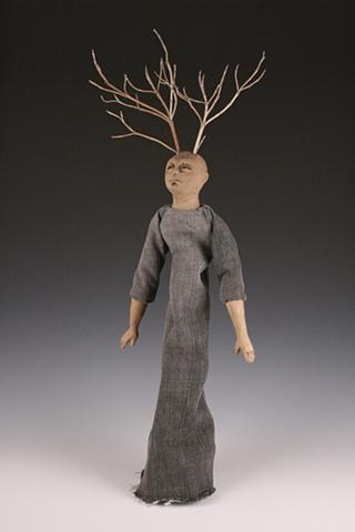 dolls, ceramic sculpture mixed media stick horns