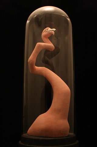flamingo, ceramic, bell jar, sculpture