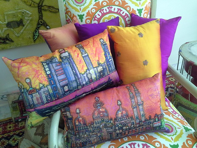 Commission Image of my paintings on silk cushions SOLD