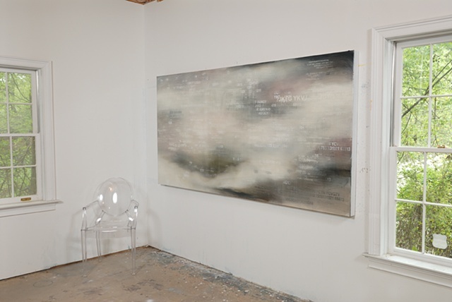 "Contemporary art oil painting ""Untitled (Red Herring Series)"" installation view by Caroline Bullock"