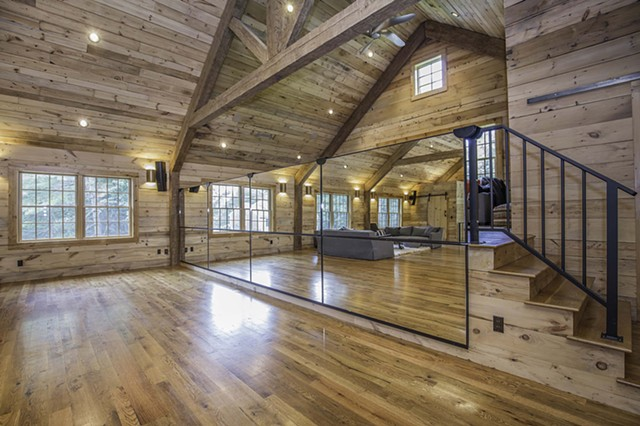 Hoffman Barn Loft - Dance Mirrors in Raised Position on Stage Rail - Gary Pearl Photography