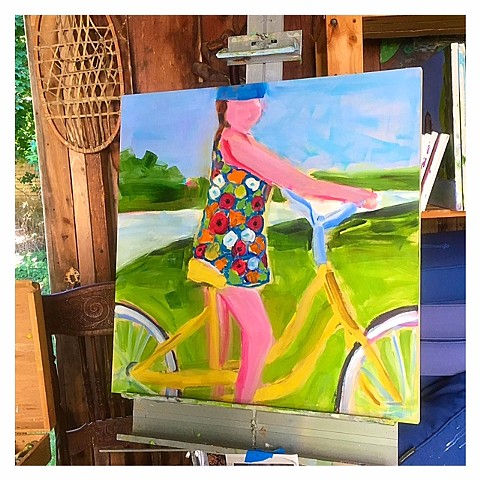 Yellow bike painting