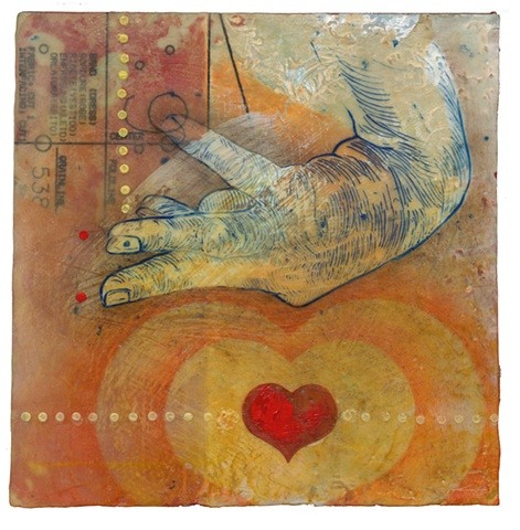 Thump Encaustic on panel- Carrie Ann Plank