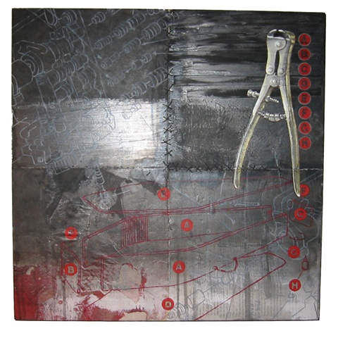 Tools of the Trade mixed media on panel - Carrie Ann Plank