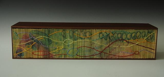 Artist Book bound with inventive coptic stitch over hand printed collagraph on each folio edge.