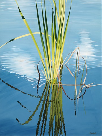 pond grasses oil painting