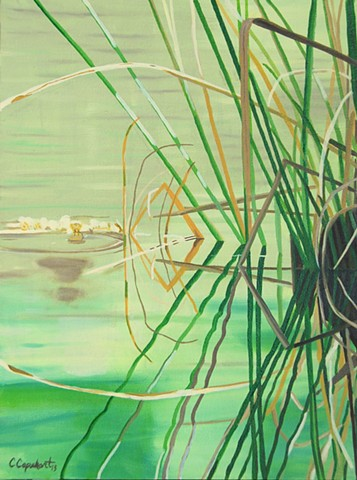 Lake Alice Grass painting by Cindy Capehart, Gainesville, Florida