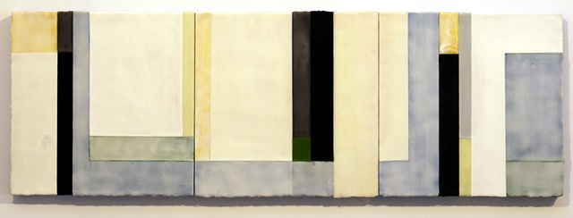 Hide and Seek, encaustic on panel, 18 x 54 in., 2011