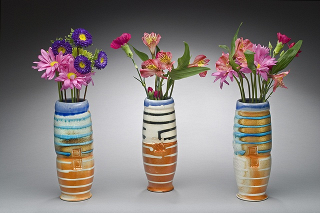 Set of 3 stem vases