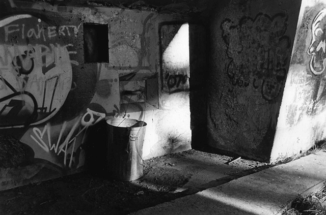 photography black white battery steel fort abandoned industrial trash can graffiti
