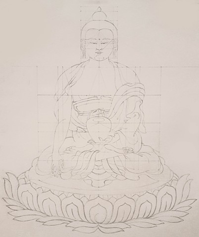buddha, robed, buddha sitting in lotus, lotus throne, drawing, pencil drawing of buddha, thangka drawing, grid drawing, sakyamuni, siddhartha