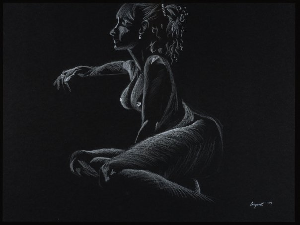 rache, nude figure, colored pencil, black paper, black and white, woman, female