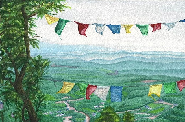 watercolor on paper of Dharamsala valley in Himachal Pradesh India with Tibetan prayer flags