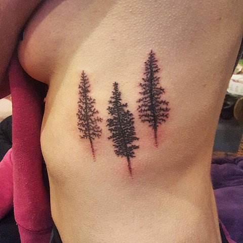 tattoo, handpoked, handpoked tattoo, handpoking, trees, trees tattoo, silhouette trees, rib tattoo, no machine