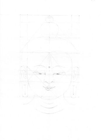 My fifth grid drawing of Buddha's head, this one got Master's approval and I was allowed to move on.