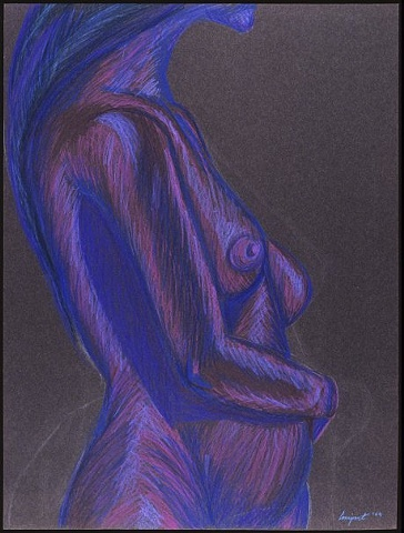 standing figure, nude, woman, female, torso, blue, purple, colored pencil, black paper