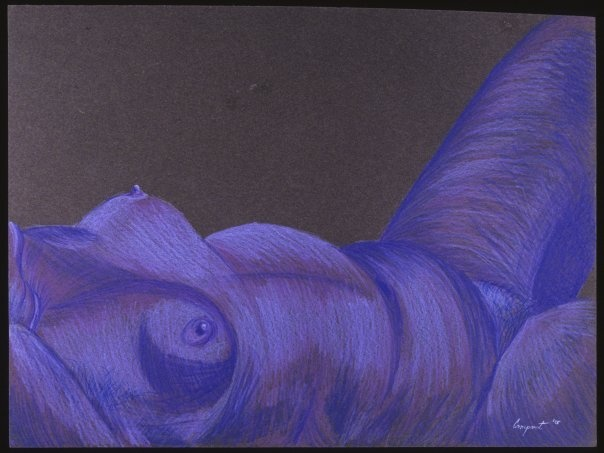 purple, colorful, colored pencil, figure, drawing, nude, woman, female, reclining