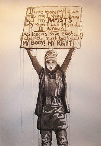 rape protest women's issues rights feminism political pro-choice self portrait dripping