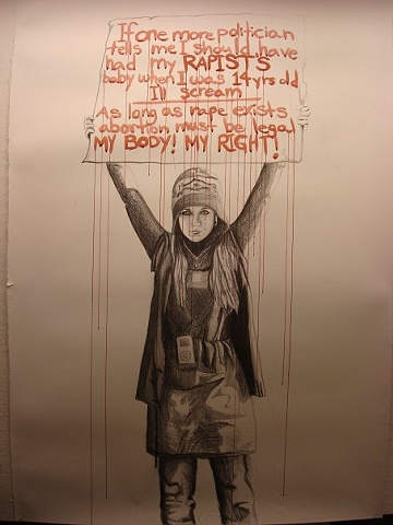 protest self portrait graphite watercolor dripping rape political feminist statement womens rights issues abortion