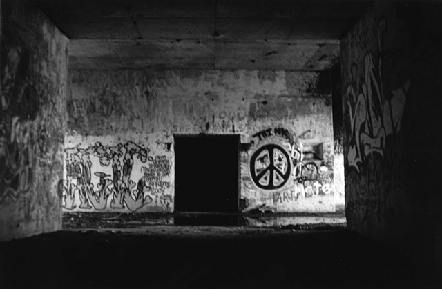 photography black white battery steel fort abandoned industrial