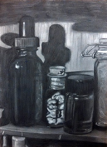 charcoal drawing, charcoal, drawing, potions, potions cabinet, potions ingredients, wolf hair, human teeth, moldavite oil, black and white drawing