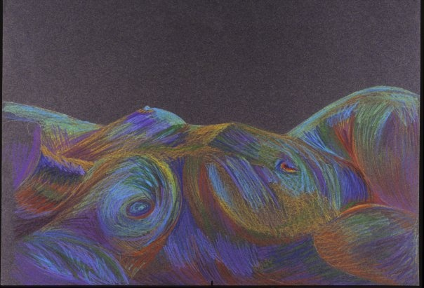 rainbow, colored pencil, nude, female, woman, reclining, colorful, black paper