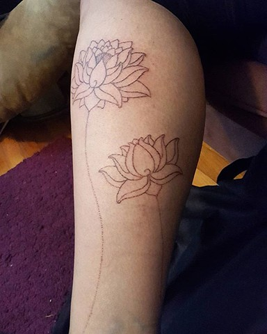 tattoo, handpoking, handpoked, handpoked tattoo, traditional tattoo, lotus, lotuses, lotus tattoo, lotus pond