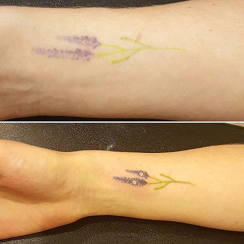 tattoo, handpoking, handpoked, handpoked tattoo, traditional tattoo, lavender, lavender tattoo, flower tattoo, touchup