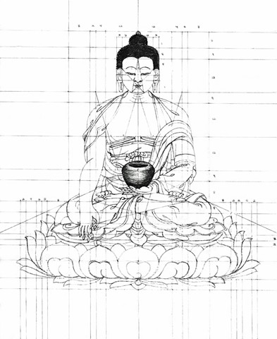 Grid drawing of Buddha Sakyamuni fully robed.