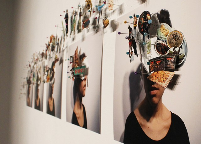 Three dimensional collage pinned directly to the wall