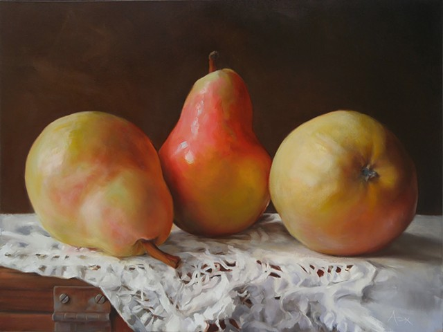 still life of pears