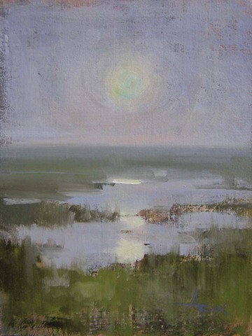 A plein air painting of a summer sunrise in the Lowcountry.