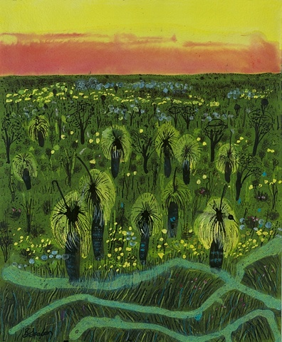 australian prints paintings of western australia  grass tree paintings
