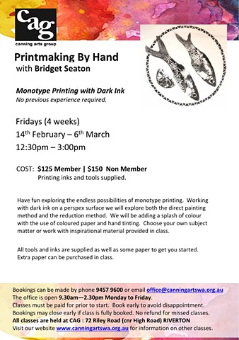 Printmaking by Hand - Fridays at Canning Arts Group