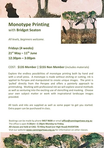 Monotype course at Canning Arts Centre