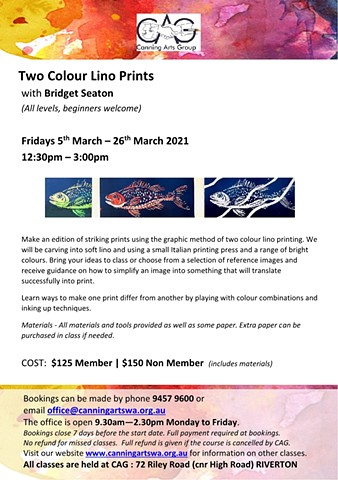 Two colour Lino Printing Class