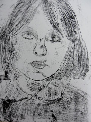 Monoprint self portrait