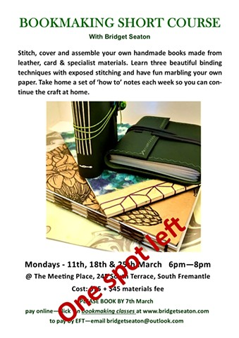 Bookmaking - Short Course  March 2019 - The Meeting Place $75+ $45 materials fee
