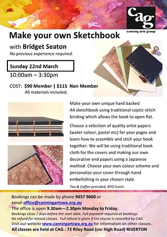 Make Your Own Sketchbook Workshop, Canning Arts, Riverton
