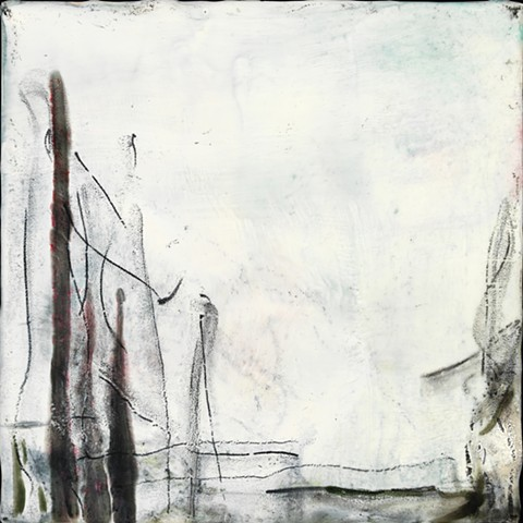 abstract landscape encaustic