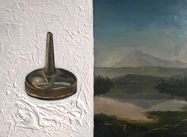 Oil can and the landscape