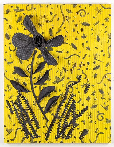 yellow and black painting, stripes and insects, applique