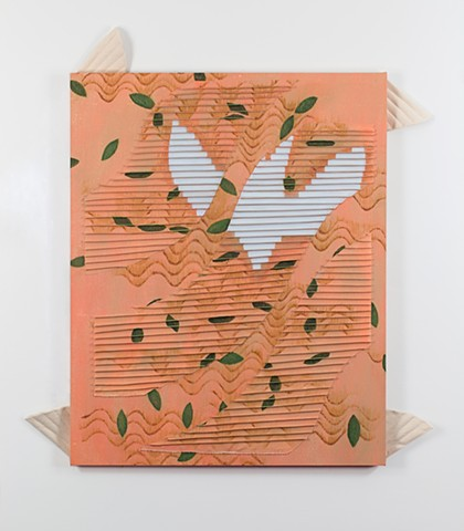 peach colored painting with a ridgy swish across it, a white bird reflected in this area, broken up by the ridges, green leaves and brown noodles floating the peach color